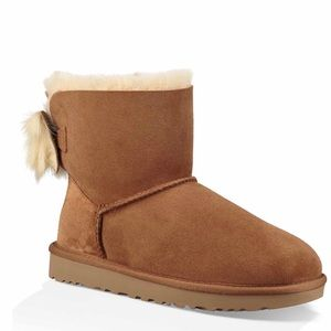 UGG genuine sheepskin fur lined bow boots